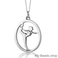 """My-Beads Sterling Silver gift pendant 441 """"Gymnast on Floor"""". Perfect surpise for a gymnast, trainer or coach."""