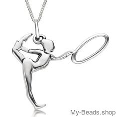"""My-Beads Sterling Silver gift, pendant 427 """"Gymnast with Hoop/Circle"""" A hoop is an apparatus in rhythmic gymnastics. The routines in hoop involves mastery in both apparatus handling and body difficulty like leaps, jumps and pivots. Birthday present. #MyBeadsSport #Gymnast #RG #RhythmicGymnastics"""