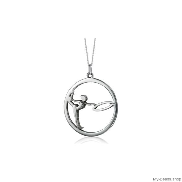"""My-Beads Sterling Silver gift, pendant 442 """"Gymnast with Hoop/Circle"""" . The perfect birthday gift for a gymnast."""