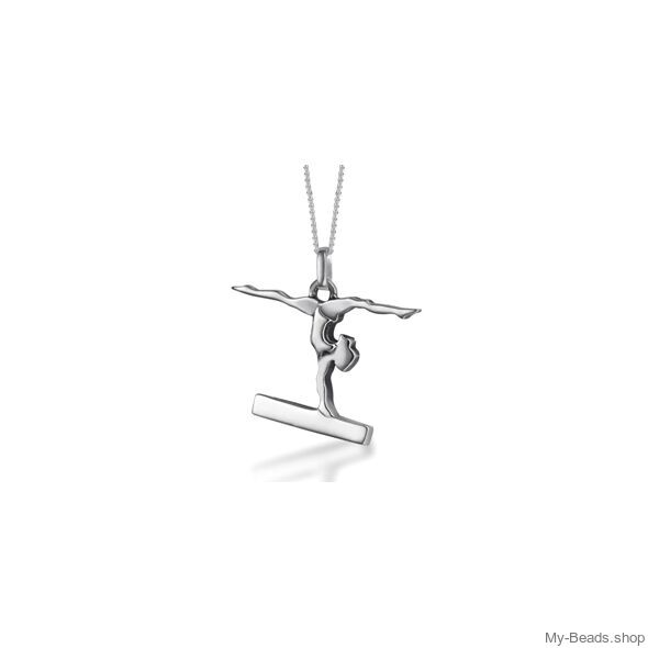 """My-Beads Sterling Silver gift, pendant 430 """"Gymnast Balance Beam"""". Perfect sport jewelry gift for an artistic gymnast, coach or trainer. Birthday gift ideas. #MyBeadsSport #Gymnastics #Gymnast #AG"""